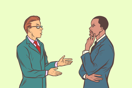 Two businessmen talking. Multi ethnic group. Comic cartoon pop art retro vector illustration drawing Ilustracja