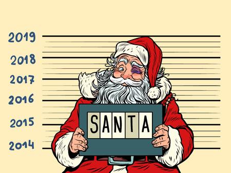 Bad Santa Claus. Arrestado 2019 feliz año nuevo. Dibujo de ilustración de vector retro de dibujos animados cómic pop art