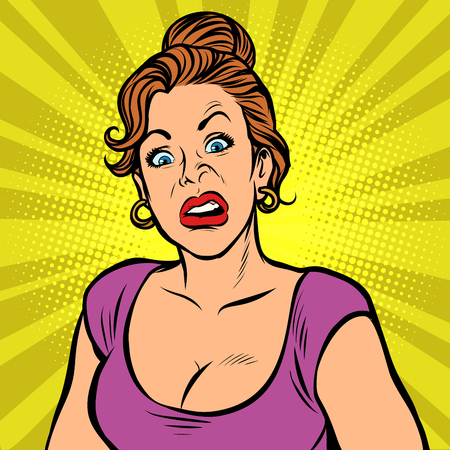 Woman with a funny surprised face Vector Illustratie