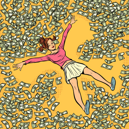 young girl makes snow angel money dollars a lot. Comic cartoon pop art retro vector illustration drawing Ilustracja