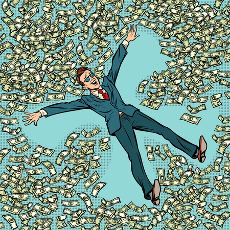 businessman making snow angel money dollars a lot. Comic cartoon pop art retro vector illustration drawing Stock Illustratie
