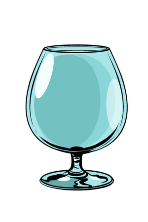 empty glass goblet. Comic cartoon pop art retro vector illustration drawing Illustration