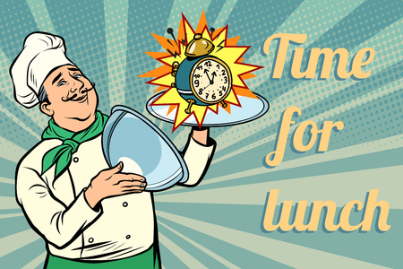 clock. time for lunch. chef with tray with lid. Comic cartoon pop art retro vector illustration drawing Standard-Bild - 126761999