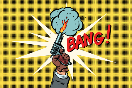 bang the starting gun. Comic cartoon pop art retro vector illustration drawing