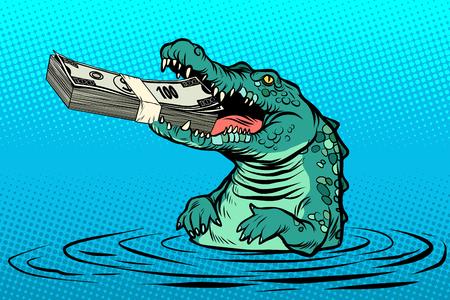 green crocodile eats money. Comic cartoon pop art retro vector illustration drawing