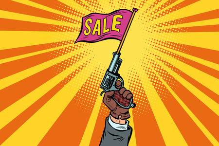 start of sale, starter pistol. Comic cartoon pop art retro vector illustration drawing
