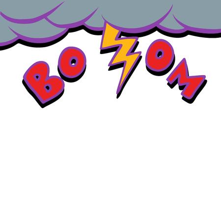 thunderstorm lightning strike. Comic cartoon pop art retro vector illustration drawing