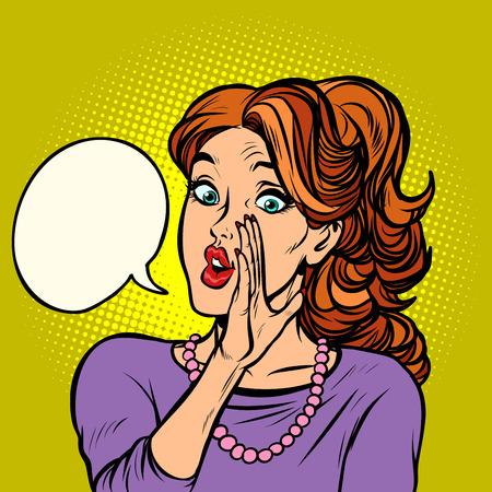 women gossip secret rumor. Comic cartoon pop art retro vector illustration drawing