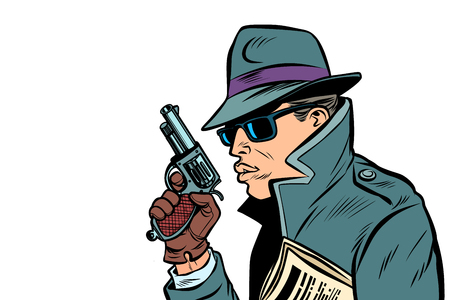 gun spy, secret agent Illustration