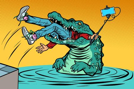 crocodile attacked a man. Dangerous selfie. Comic cartoon pop art retro vector illustration drawing Archivio Fotografico - 126762016