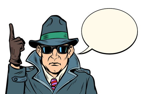 spy attention gesture. Comic cartoon pop art retro vector illustration drawing Stock Vector - 126762018