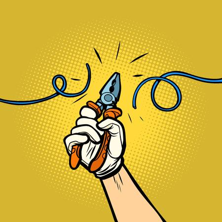 Drahtschneider schneiden Draht. Comic-Cartoon-Pop-Art-Retro-Vektor-Illustration-Zeichnung