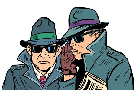 Deux agents secrets chuchotent. Dessin d'illustration vectorielle rétro pop art bande dessinée comique Vecteurs