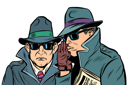 Two secret agents whispering. Comic cartoon pop art retro vector illustration drawing