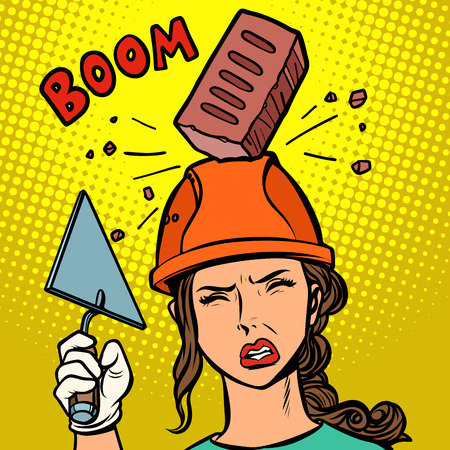 female builder brick falls on helmet. Comic cartoon pop art retro vector illustration drawing