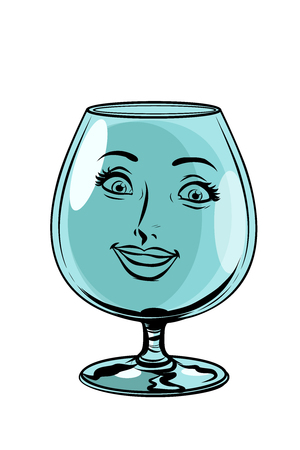 glass goblet woman face character. Comic cartoon pop art retro vector illustration drawing 向量圖像