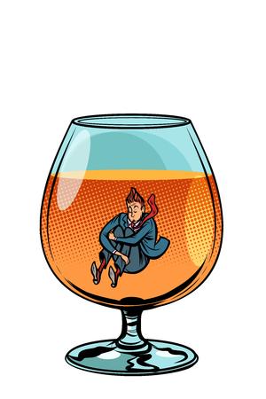 ivrogne en verre de cognac