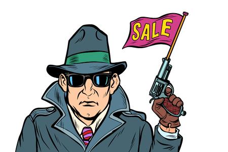 spy secret agent start sales. isolate on white background. Comic cartoon pop art retro vector illustration drawing Stock Vector - 126762024