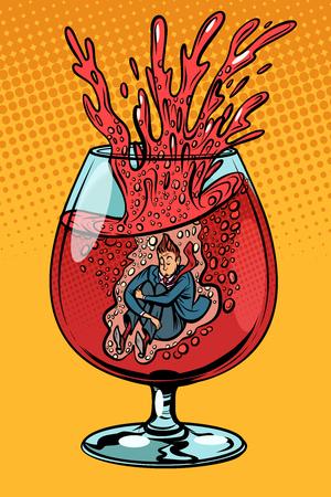 pijane wino, człowiek w kieliszku alkoholu. Komiks kreskówka pop-artu retro wektor ilustracja rysunek