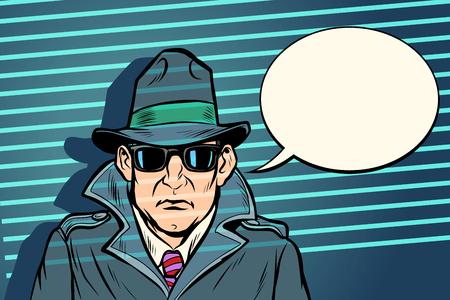 Geheimagent spionieren. Comic-Cartoon-Pop-Art-Retro-Vektor-Illustrationszeichnung Vektorgrafik