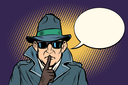 spy shhh gesture man silence secret. Comic cartoon pop art retro vector illustration drawing