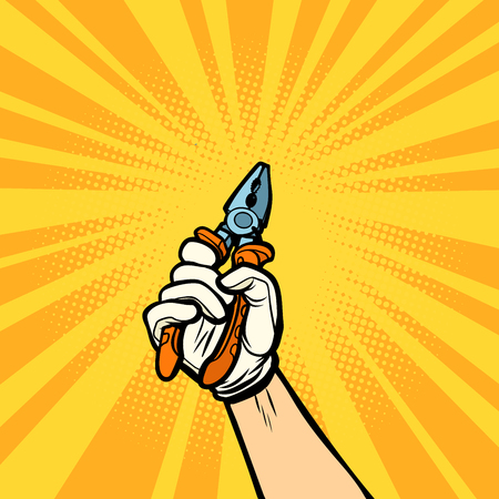 hand with pliers, work tool. Comic cartoon pop art retro vector illustration drawing