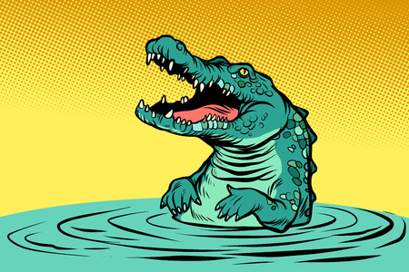 personaggio coccodrillo verde. Disegno di illustrazione vettoriale retrò di pop art fumetto comico