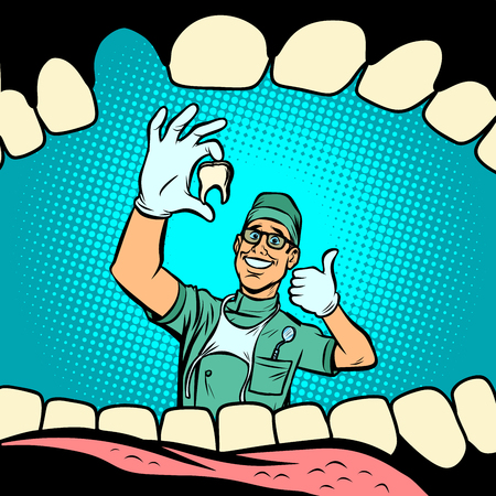 Mouth without tooth. Joyful dentist male doctor. Comic cartoon pop art retro vector illustration drawing