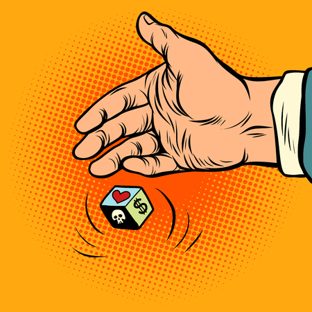 choosing between love and money. hand throws dice. Comic cartoon pop art retro vector illustration drawing Иллюстрация
