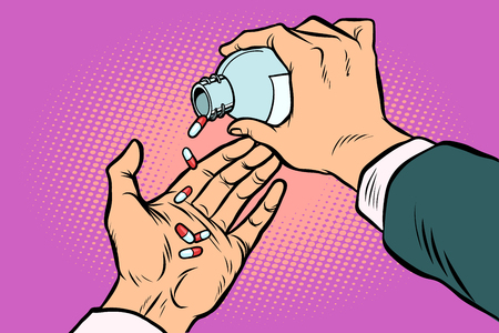 man hand pours out pills Illustration
