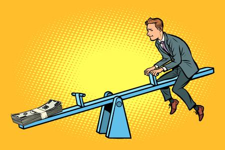 Money business balance. Of a seesaw. Swing Board balancer
