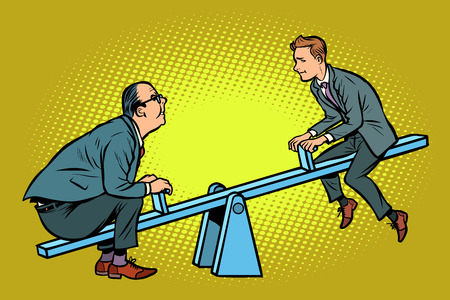 Two business partner balance. Of a seesaw