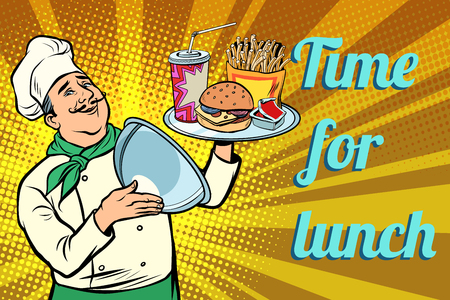 Burger French fries Cola fast food. time for lunch. chef with tray with lid. Comic cartoon pop art retro vector illustration drawing