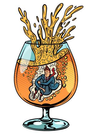l'ivrogne saute dans un verre d'alcool Vecteurs