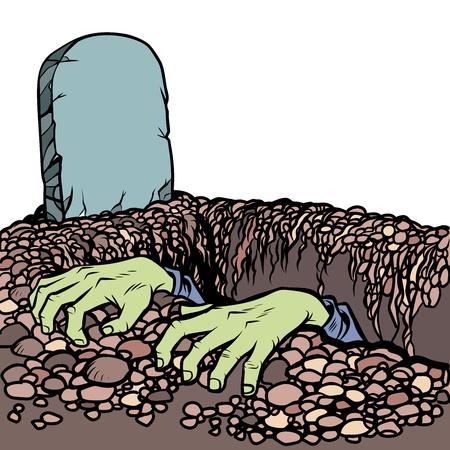 Het graf een zombie. Dode man handen Vector Illustratie