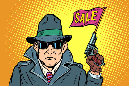 spy secret agent start sales. Comic cartoon pop art retro vector illustration drawing Stock Vector - 125944058