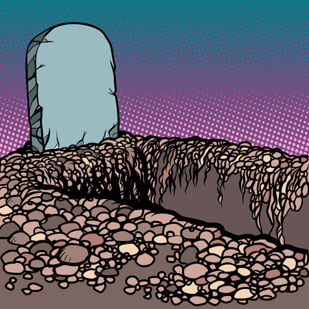 Empty dug grave. Cemetery graveyard churchyard necropolis. Comic cartoon pop art retro vector illustration drawing