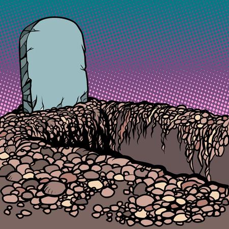 Empty dug grave. Cemetery graveyard churchyard necropolis. Comic cartoon pop art retro vector illustration drawing