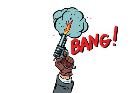 bang the starting gun isolate on white background. Comic cartoon pop art retro vector illustration drawing