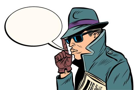 secret agent finger gun gesture. Comic cartoon pop art retro vector illustration drawing