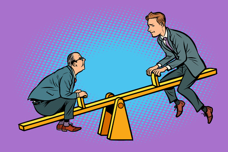 Big and small business equilibrium concept. Of a seesaw