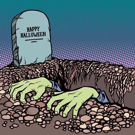 zombie hands happy Halloween grave. Comic cartoon pop art retro vector illustration hand drawing Ilustracja
