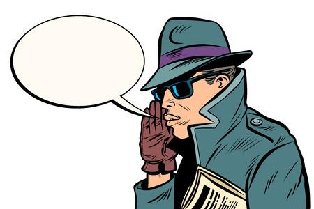 spy secret agent whisper. Comic cartoon pop art retro vector illustration drawing Stockfoto - 125832273