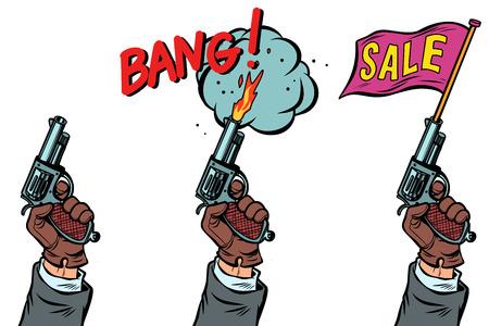 Pistole Starter Kit und Verkauf. Comic-Cartoon-Pop-Art-Retro-Vektor-Illustration-Zeichnung