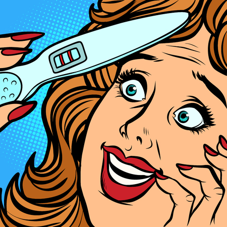 pregnancy test two strips woman happiness face. Comic cartoon pop art retro vector illustration hand drawing