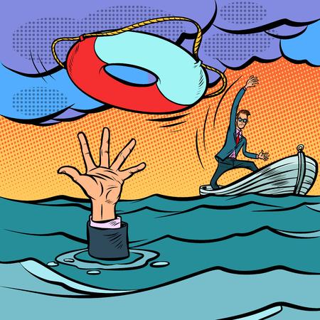 empresario y salvavidas. salvar el negocio. seguro de vida. Dibujo a mano de ilustración de vector retro de dibujos animados cómic pop art