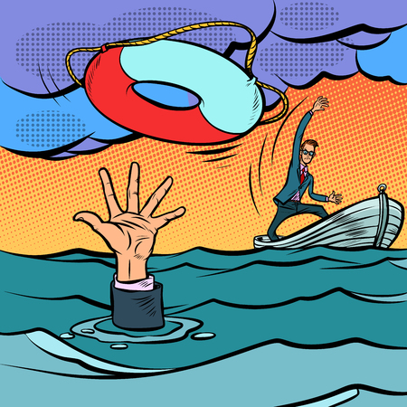 businessman and lifeline. saving the business. life insurance. Comic cartoon pop art retro vector illustration hand drawing Illustration