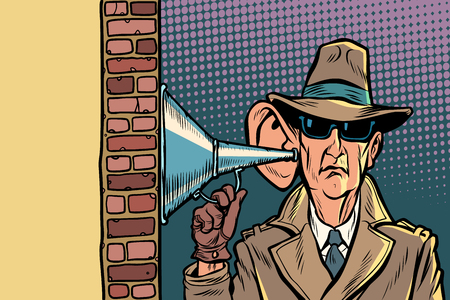 spy or secret agent of the state, wiretapping and surveillance Illustration