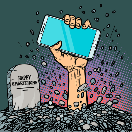 happy smartphone. zombie hand from the grave