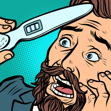 pregnancy test. scared bearded hipster man husband father. Comic cartoon pop art retro vector illustration hand drawing